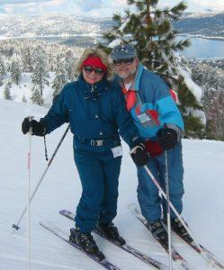 Deena Solomon with her husband Paul, skiing